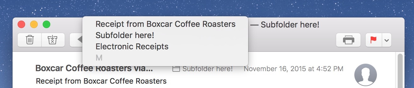 Show an email message's location by Control-clicking its name in the Mail Title Bar