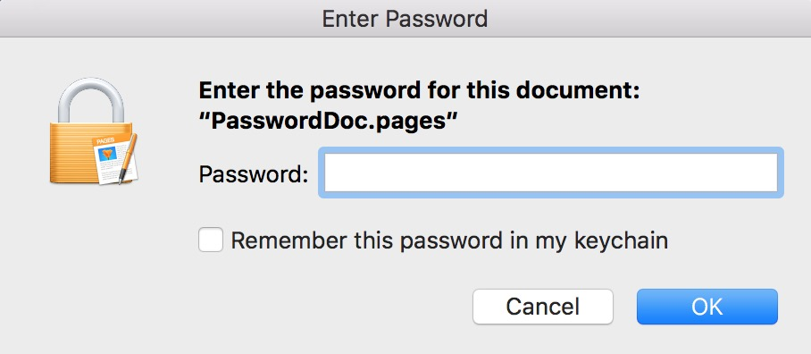 Password Prompt to unlock Pages document
