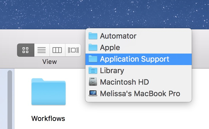 Selecting a folder from a macOS window Finder Bar