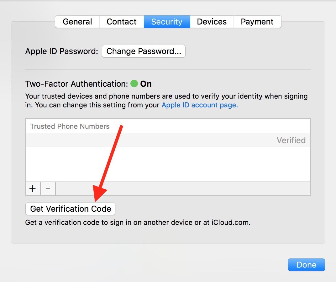 Two-factor authentication Get Verification Code option in macOS