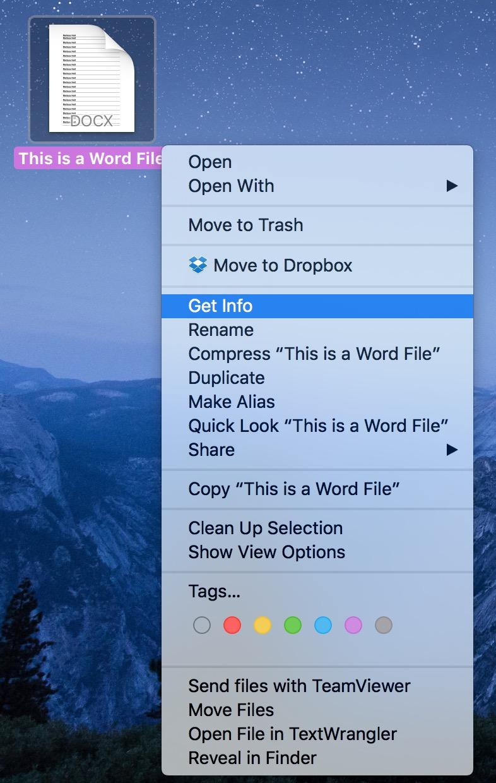 macOS Get Info Menu for documents