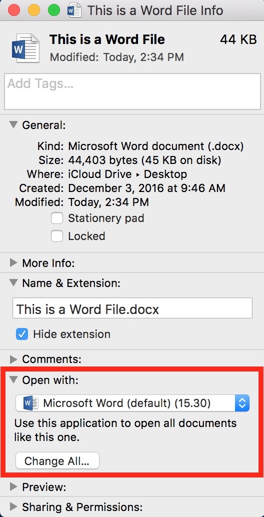 Open With from Info Window showing Microsoft Word document