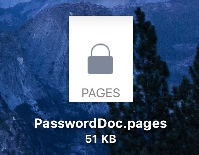 Pages File Icon showing Lock for a password protected document