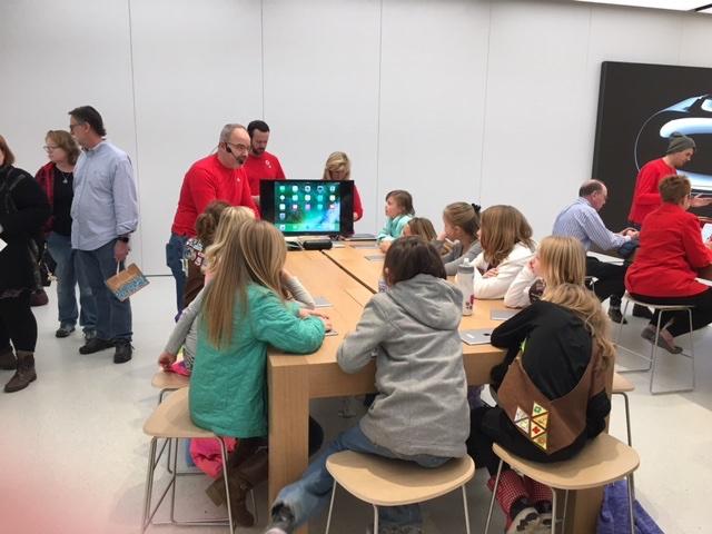 Kids in Apple store