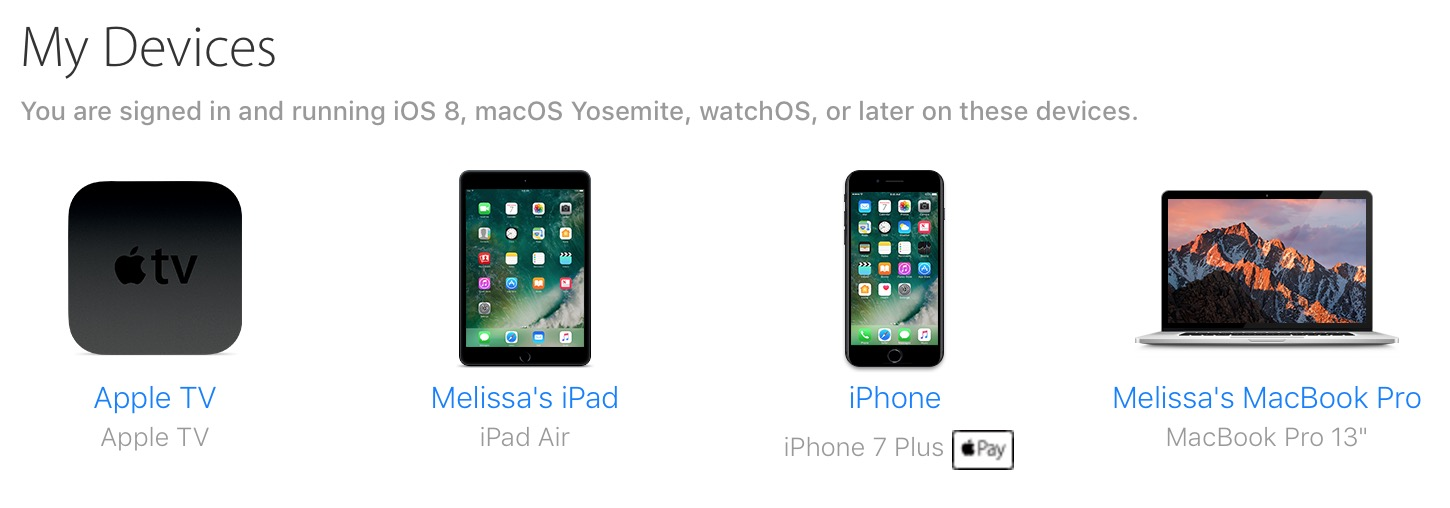 iCloud Devices List on the Web