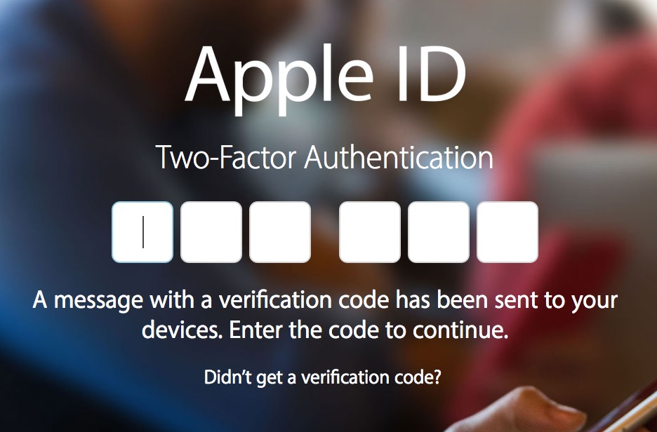 Apple dialog to enter two-factor authentication code