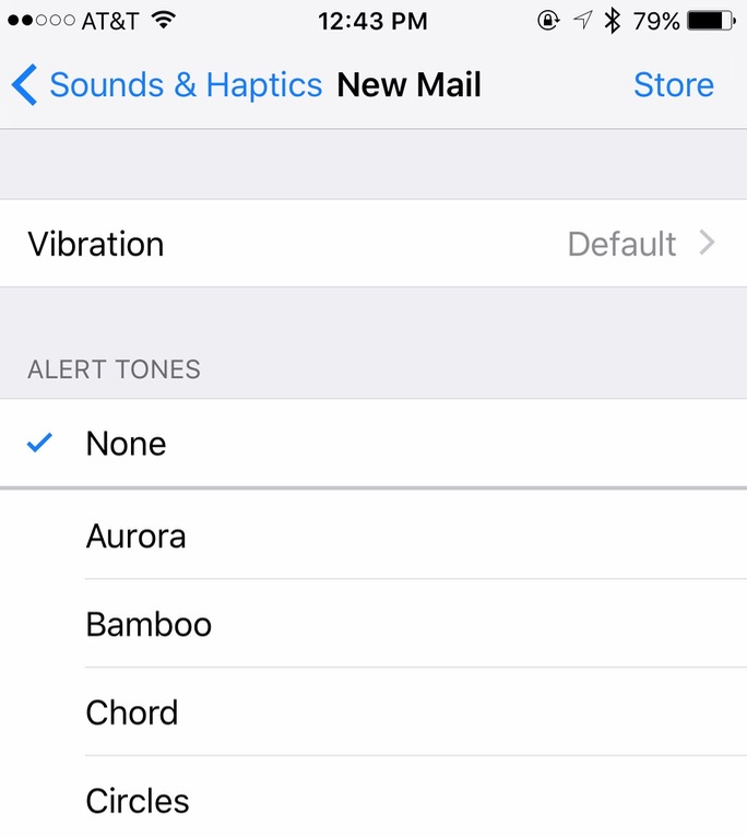 Disabling alert tones for New Mail the Sound & Haptics Settings