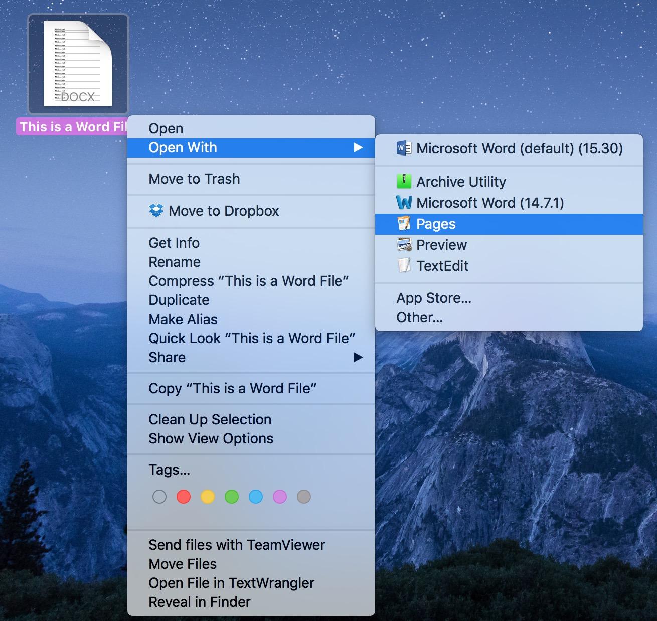 macOS Open With Menu