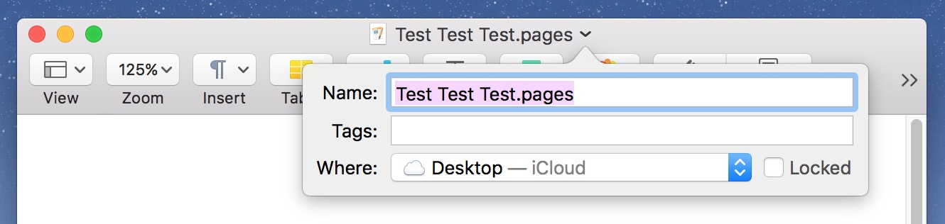 Click macOS document Title Bar to rename files and more