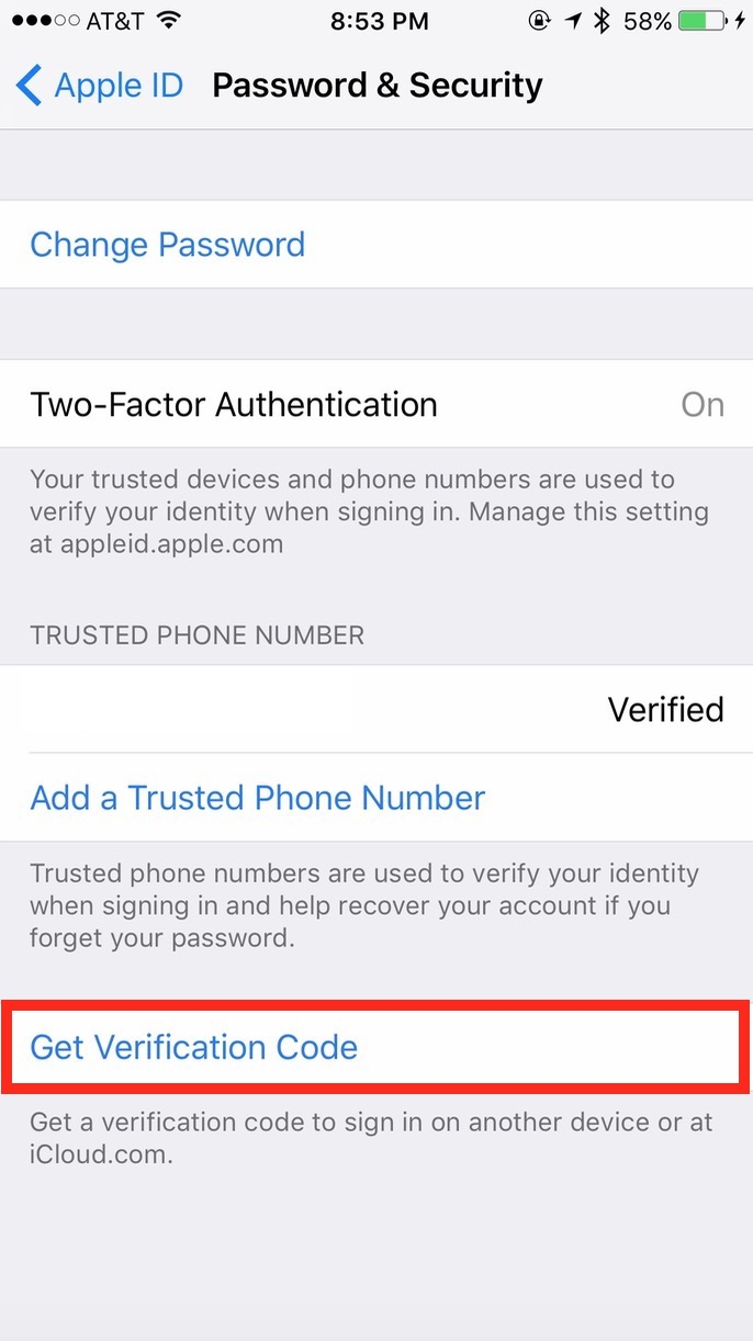 Get Verification Code option iniOS iCloud Apple ID Password & Security settings