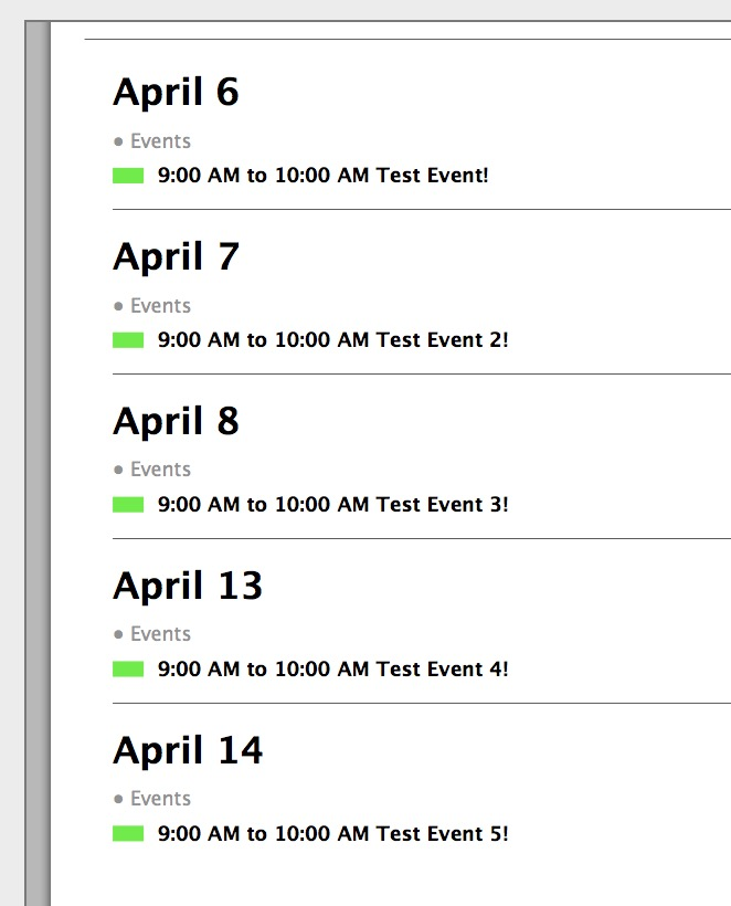 macOS Calendar Zoomed Events