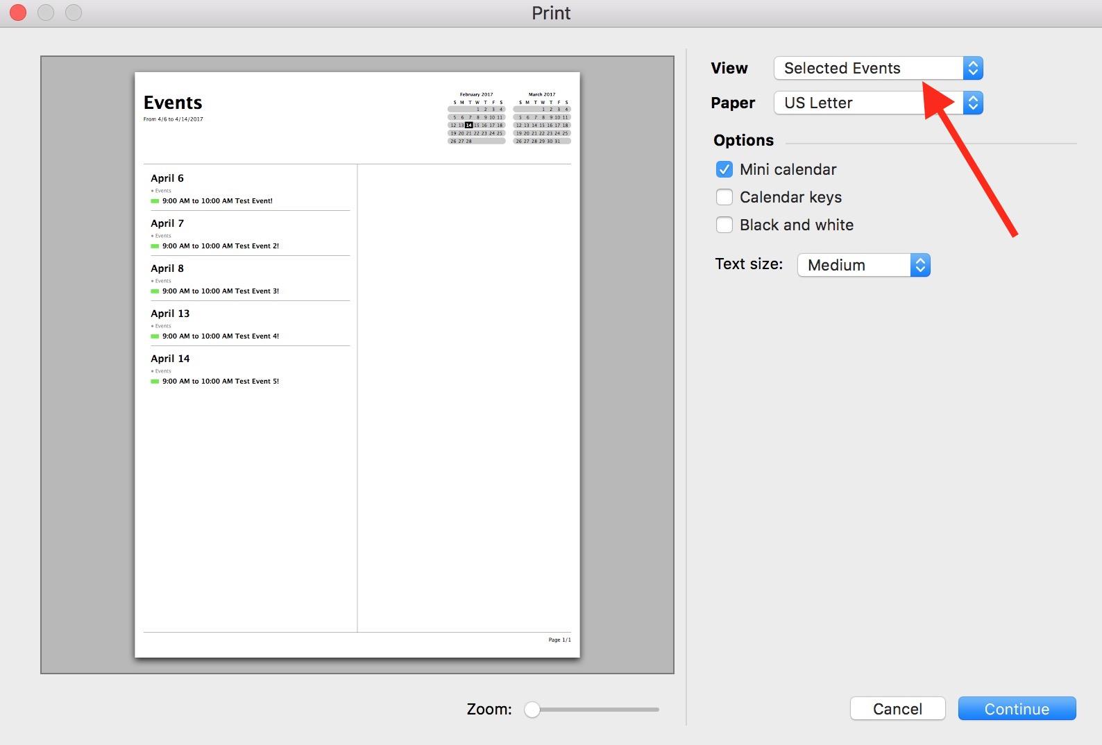 macOS Calendar Print Dialog