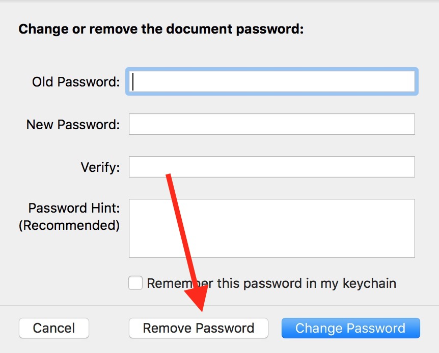 Remove Password button in Pages document change password dialog