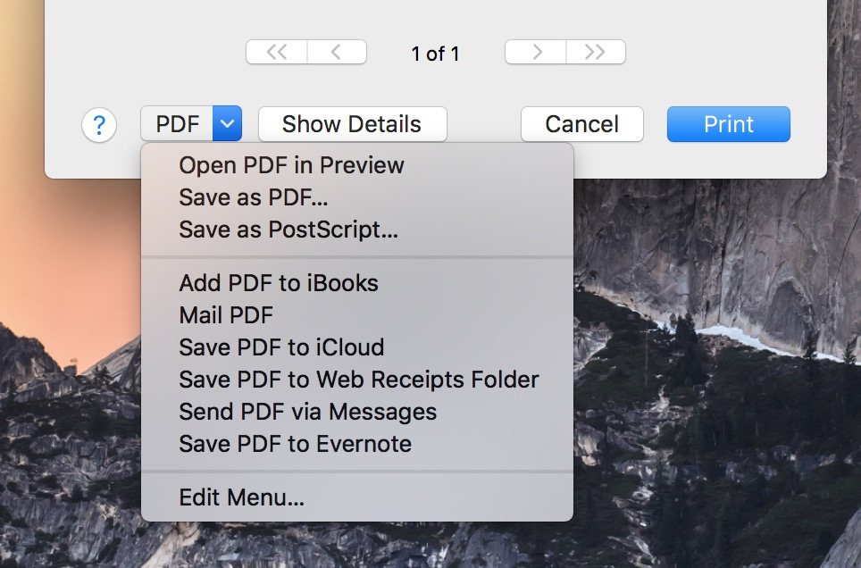 macOS Calendar Save as PDF dialog