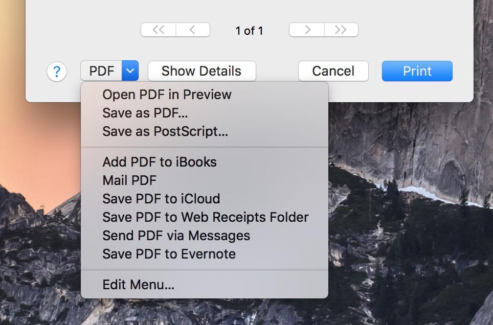 macOS Calendar Save as PDF dialog