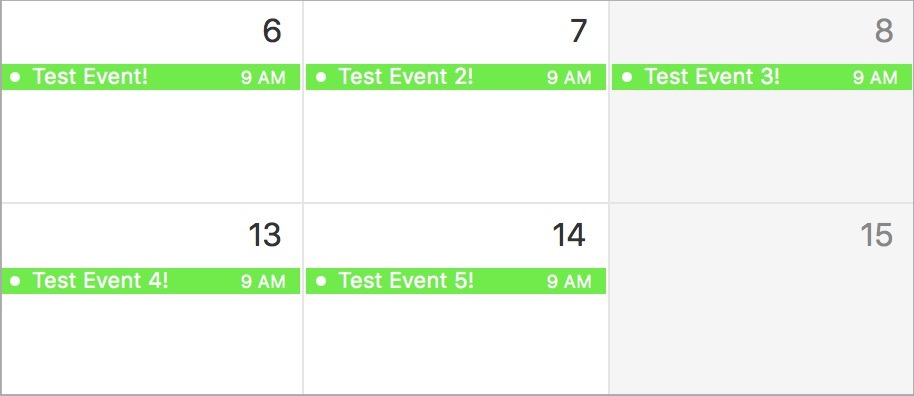 macOS Calendar selected events
