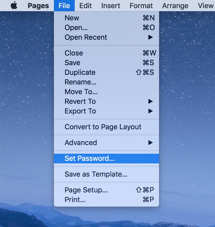 Set Password menu option in Pages for macOS