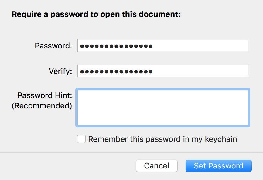 Set Password dialog box in Pages for macOS