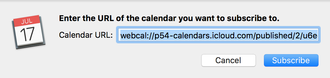 Subscribe to Calendar