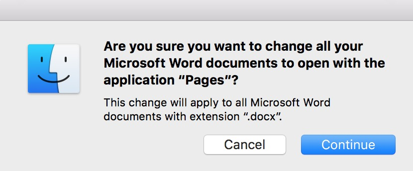 Warning about changing the default app for Word documents to Pages