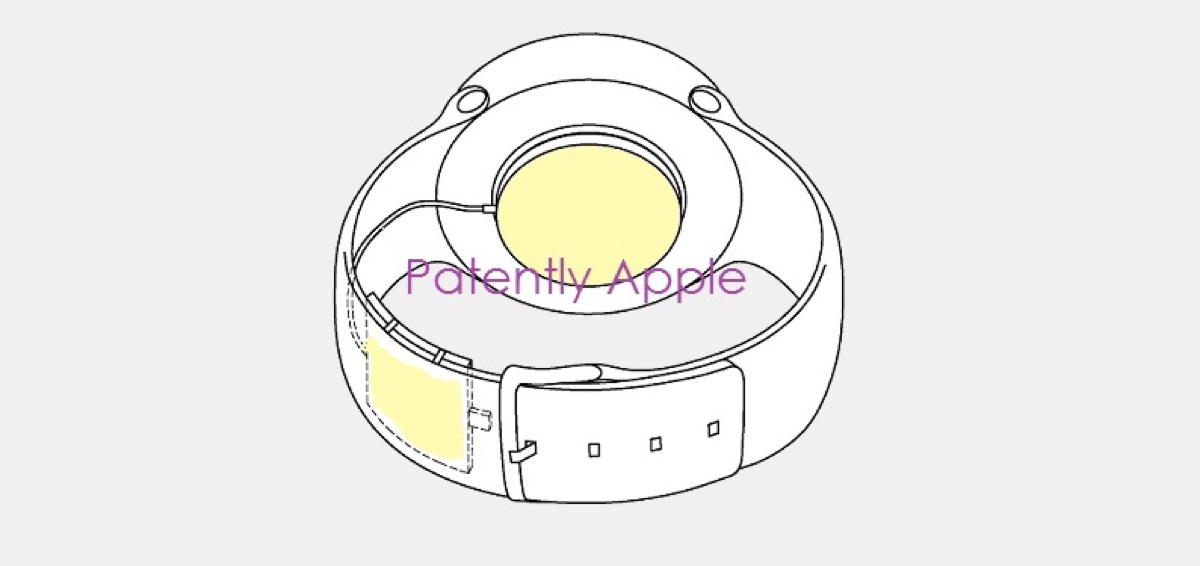 Apple patent diagram for wearable Apple Watch battery,