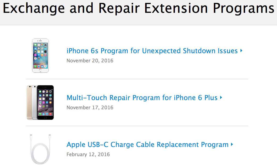 Apple's Exchange and Repair Extension Programs Site