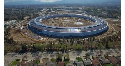 Drone footage shows nearly complete main building at Apple Park campus