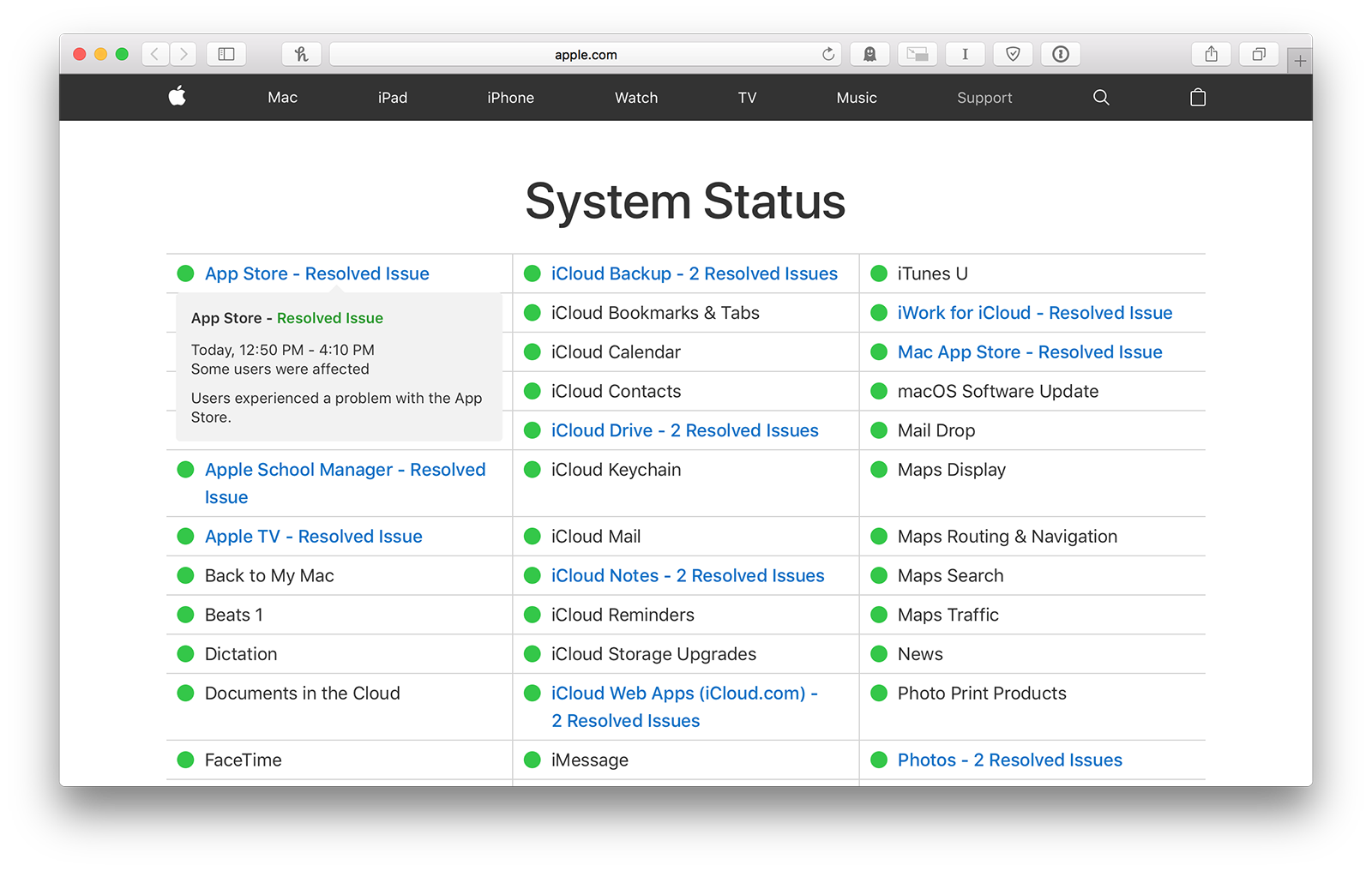 new apple system status page