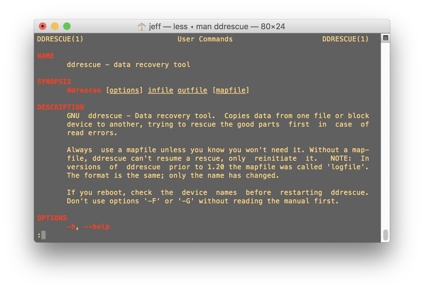 ddrescue for the Mac in Terminal