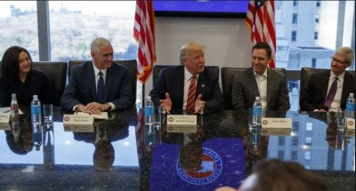 Donald Trump, Mike Pence, Tim Cook, Tech Exec Meeting in December, 2016