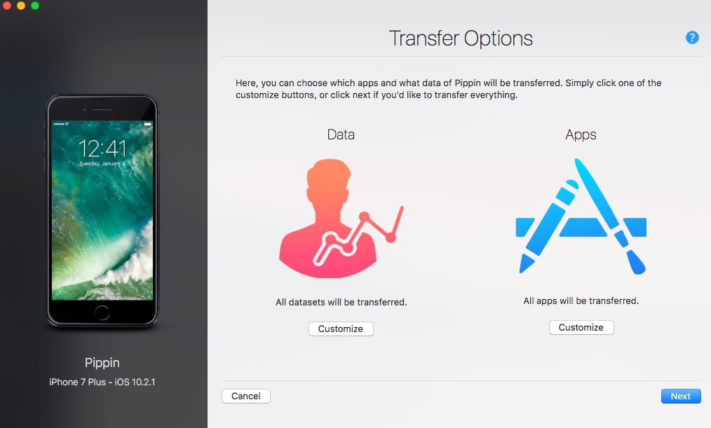 iMazing transfer options