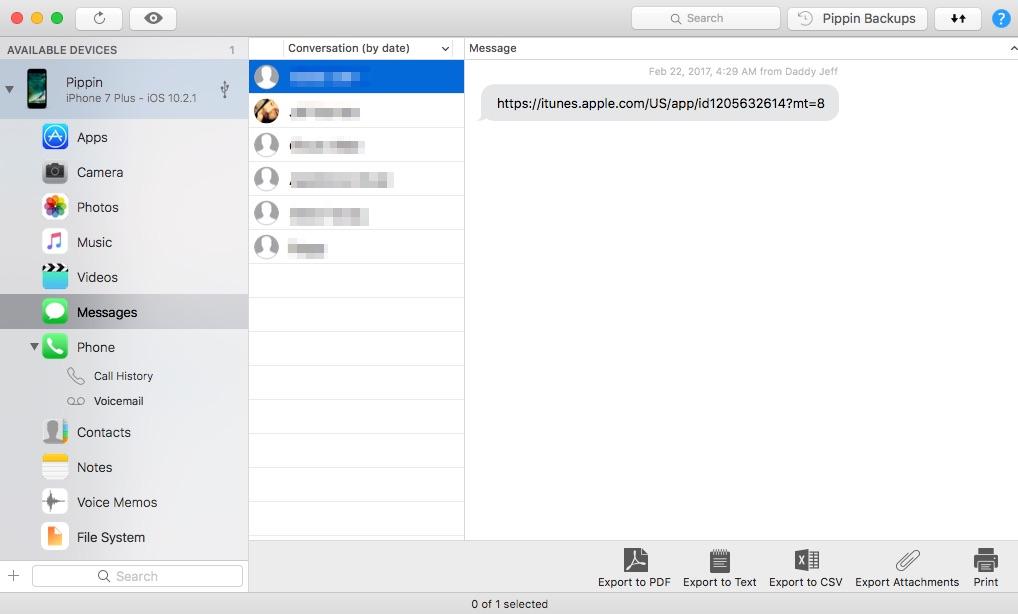 iMazing messages export options