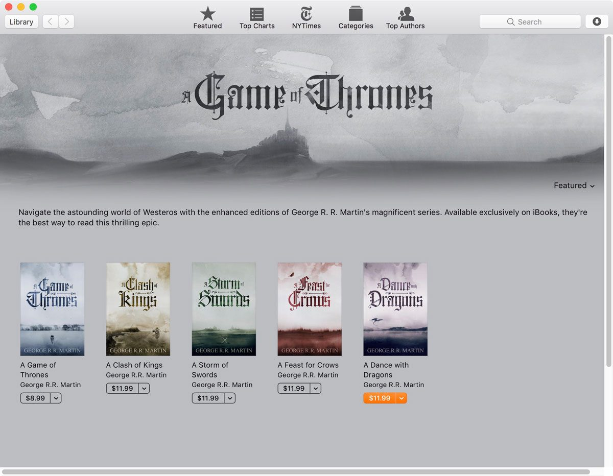A Song of Ice and Fire Enhanced Editions on iBooks