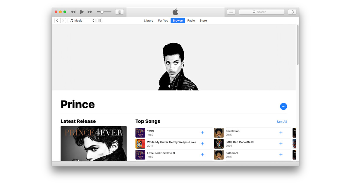 Prince streaming on Apple Music