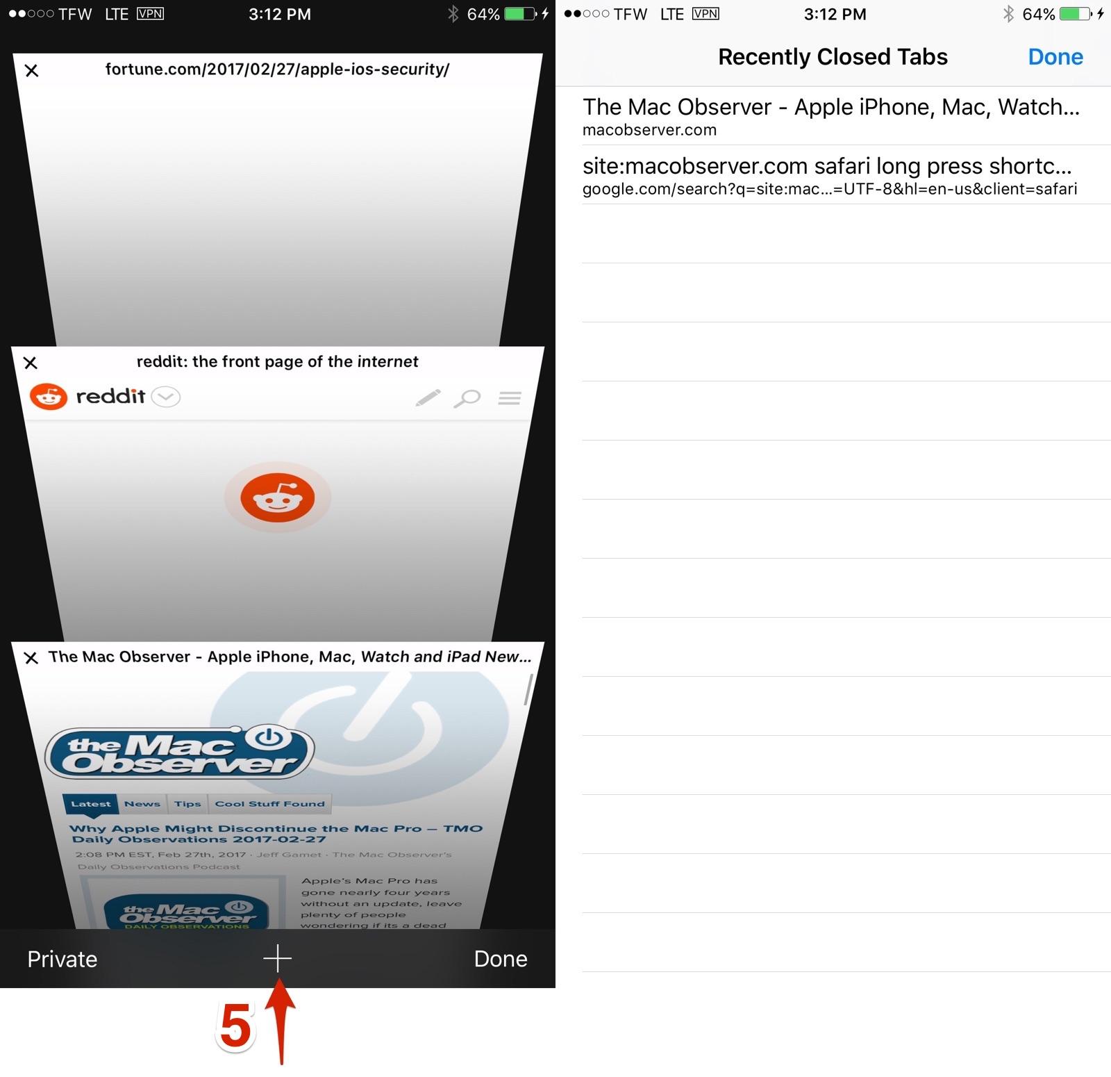 Safari tabs shortcuts