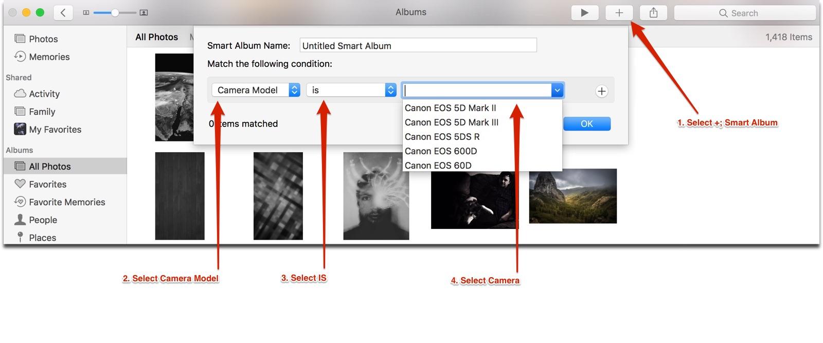 smart album options in apple photos