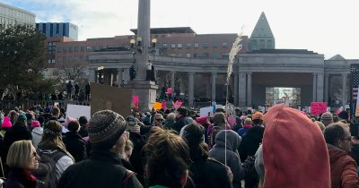 Protesters in Denver speaking out against Donald Trump's anti-woman and anti-immigration policies