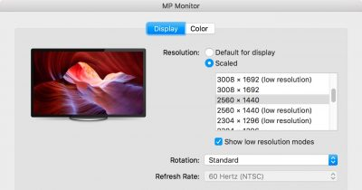 macOS System Preferences Displays Low Resolution options