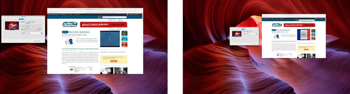 Two shots of the same 4K monitor, One showing Retina mode, the other showing non-retina mode with smaller text