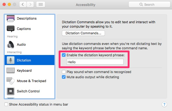 Accessibility options in macOS Sierra