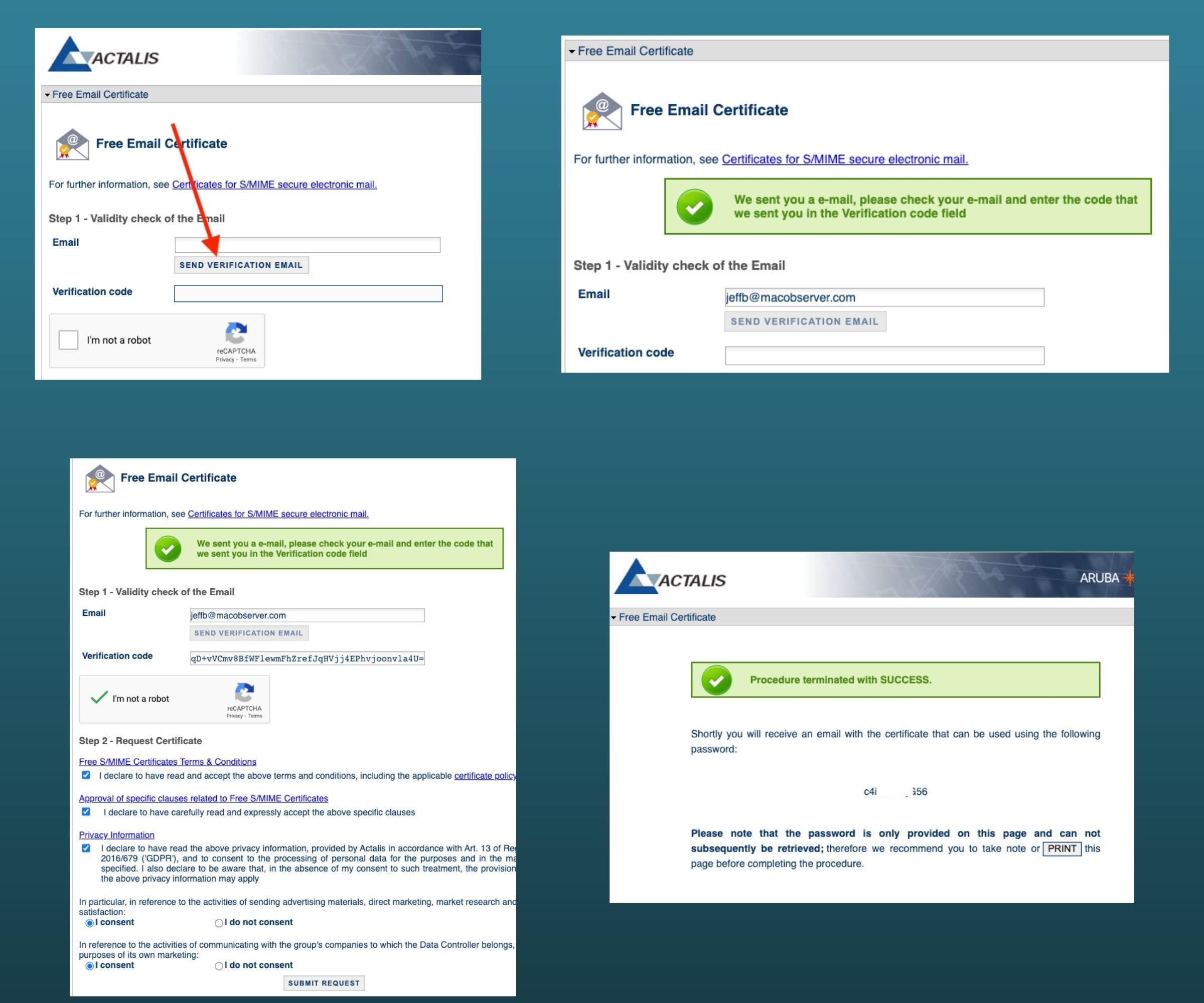Actalis provides a free S/MIME certificate in 4 simple steps