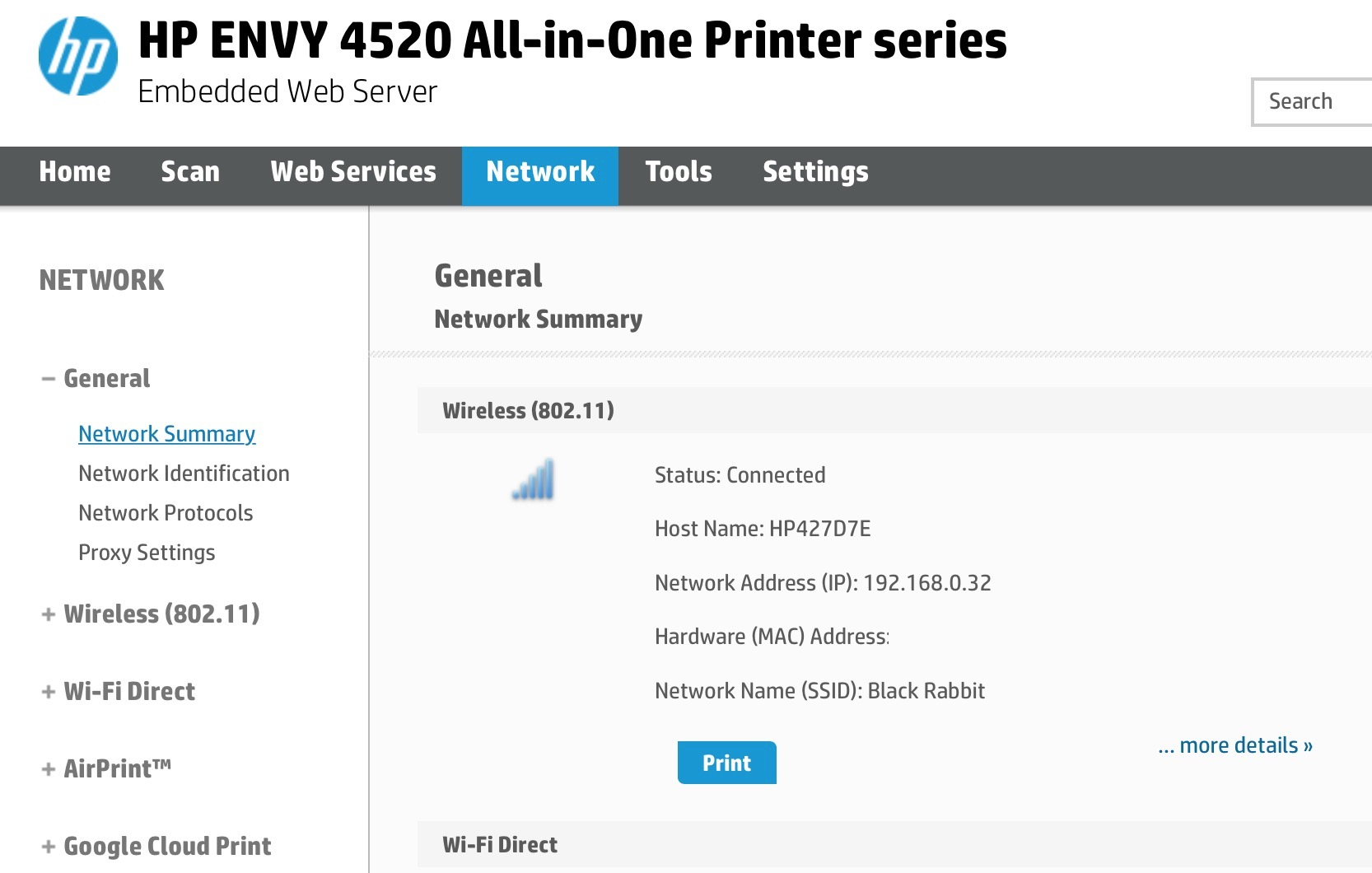 Here's an example of a built-in Printer Webpage