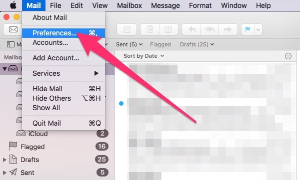 Choosing Mail Preferences to change the default email client