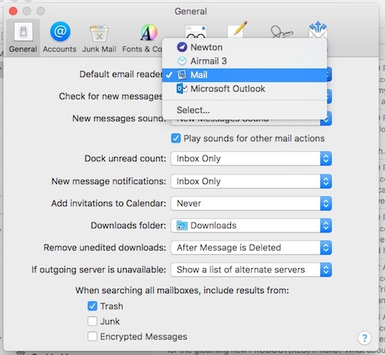 Choose your preferred default email client