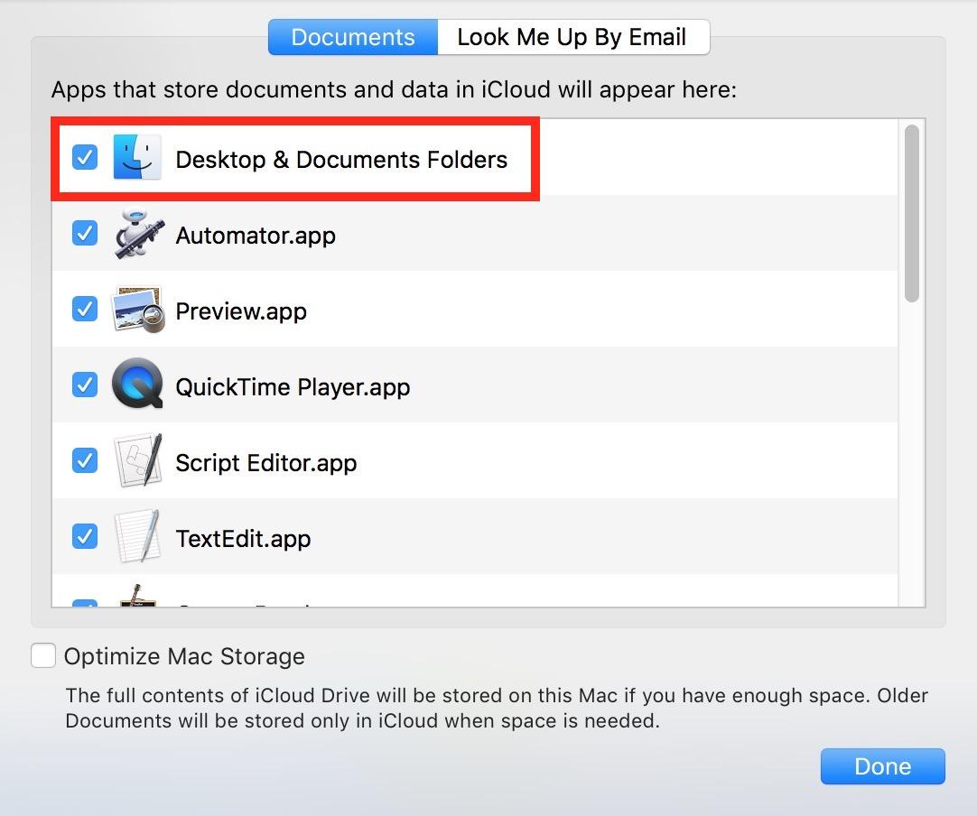 Turn off Desktop & Documents Folders syncing in iCloud Drive Options settings