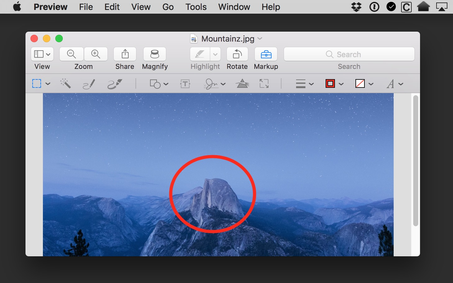 Edited photo of a mountain in Preview we're about to revert to an earlier state