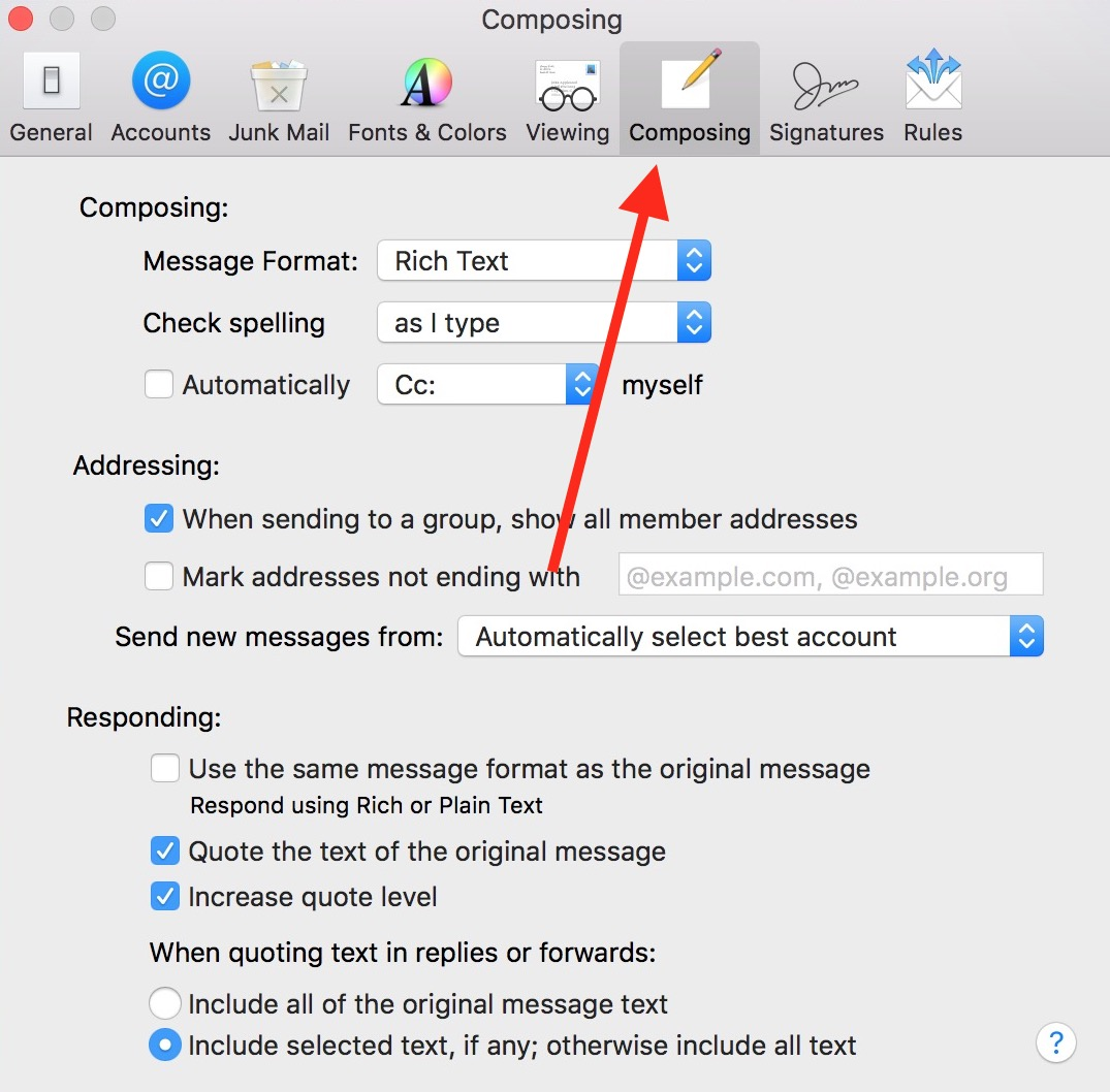 Use the Composing Tab in Mail Preferences to access your settings for sending messages