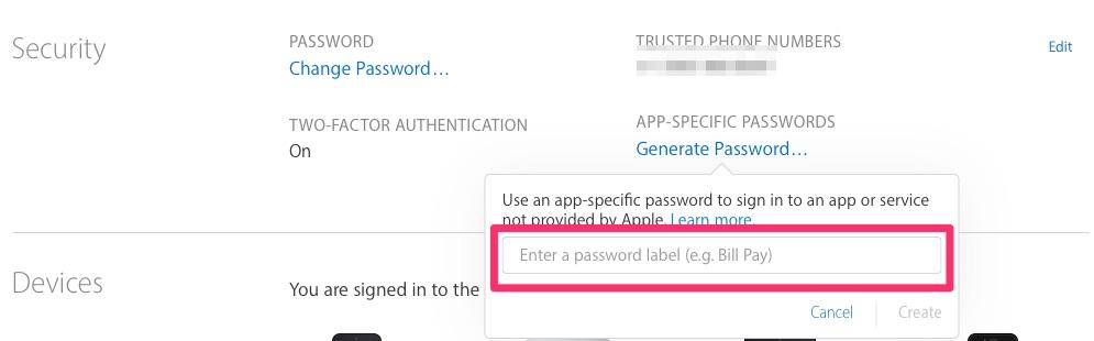 App-specific password generator asking for a password label
