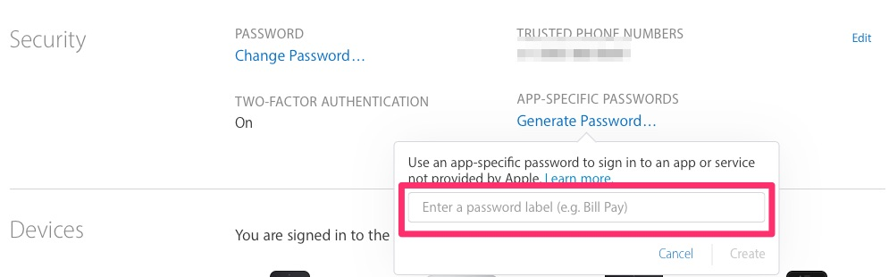App-specific password generator asking for a password label