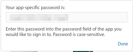 The app-specific password for you to copy so you can use it to access iCloud data from an app after you've enabled two-factor authentication for your iCloud account